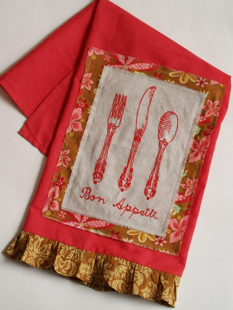 Bon Appetit! Embroidered Dishtowel