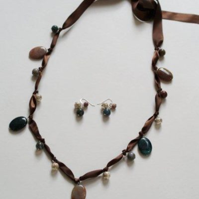 Beaded Ribbon Necklace – and Earrings!