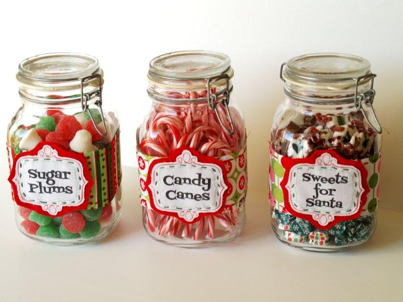 Fabric Candy Jar Labels for Christmas