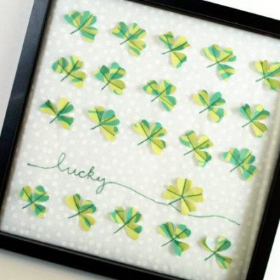 Fabric Lucky Clover Specimen Art