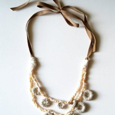 Anthro Fabric Marshmallow Necklace