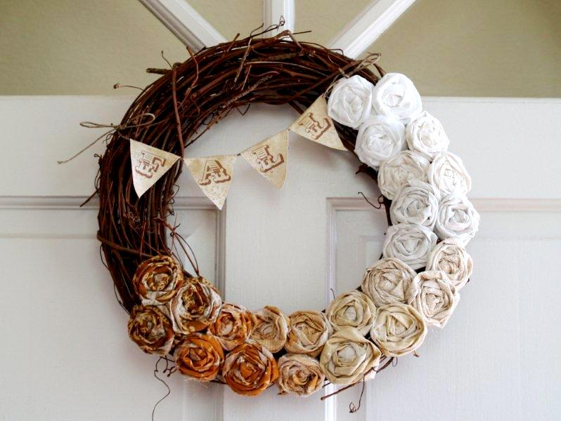 diy fall ombre rosette wreath