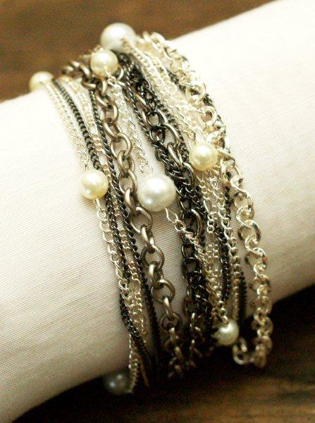 Chain & Pearl Multi-Row Bracelet
