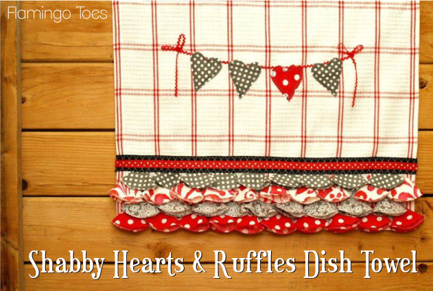 """Shabby Hearts and Ruffles Dish Towel"" Free Pattern designed by Bev from Flamingo Toes"