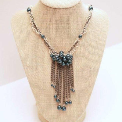 Pearl and Chain Fringe Necklace