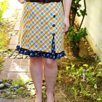 Buttons and Frills Knockoff Skirt