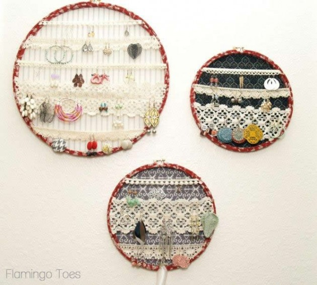 Displayed In This Embroidery Hoop Is A Fantastic: Hoops And Lace Earring Display