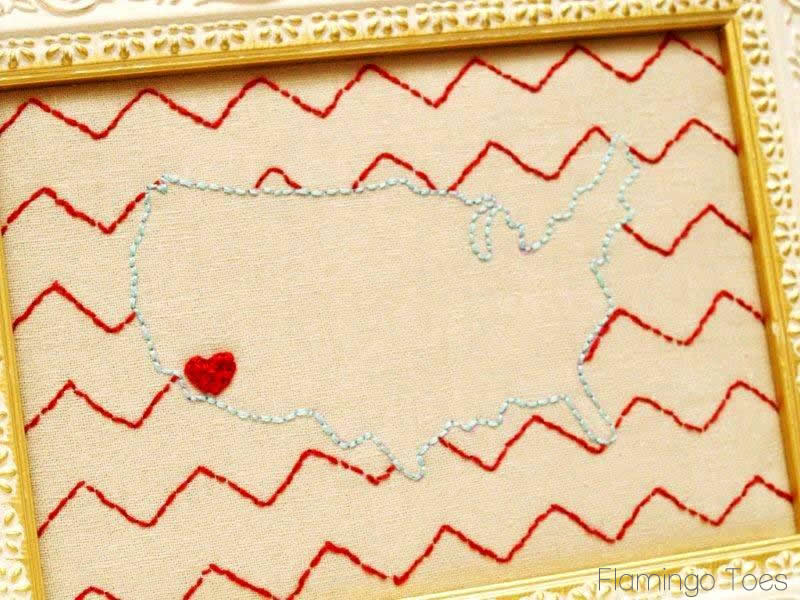 Embroidered USA Map with Cute Chevron Background