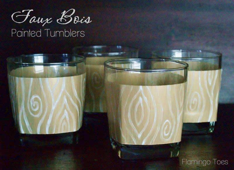 Faux Bois Painted Tumblers