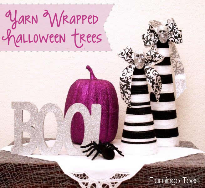 Yarn Wrapped Halloween Trees