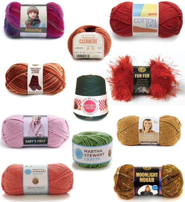 the most fun yarns - everything from wool to acrylic to eyelash yarn ...