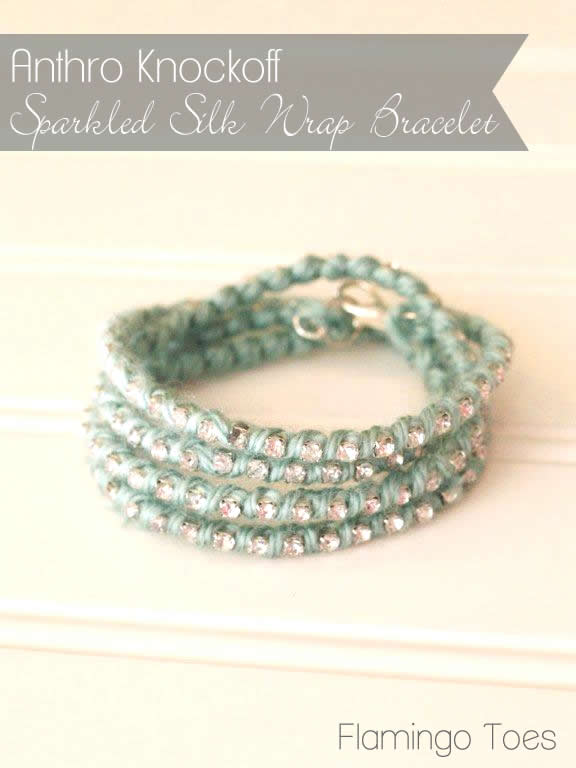 Anthro Knockoff ~ Sparkled Silk Wrap Bracelet