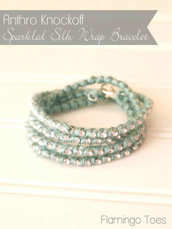 Anthro Knockoff ~ Sparkled Silk Wrap Bracelet