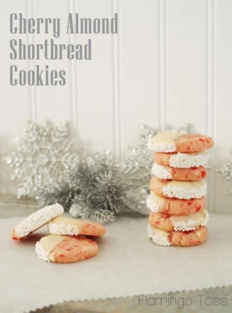 Cherry Almond Shortbread Cookies