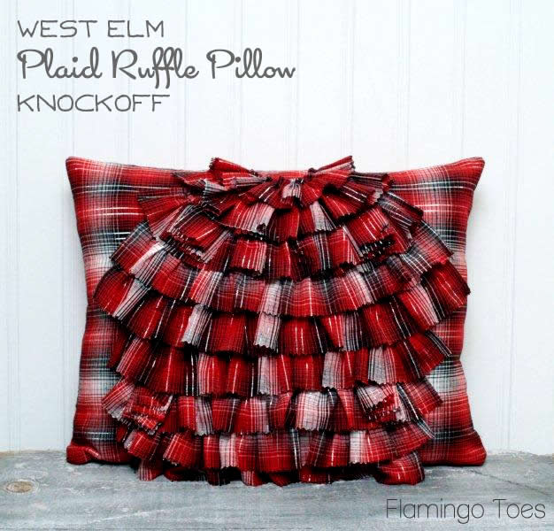 West Elm Plaid Ruffle Pillow Knockoff