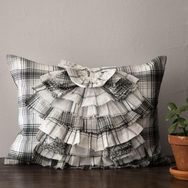 Ruffled plaid pillow west elm knockof West elm pillows