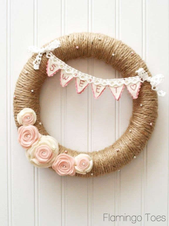 Pink and White Valentines Wreath
