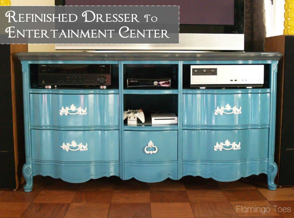 Refinished Dresser to Entertainment Center