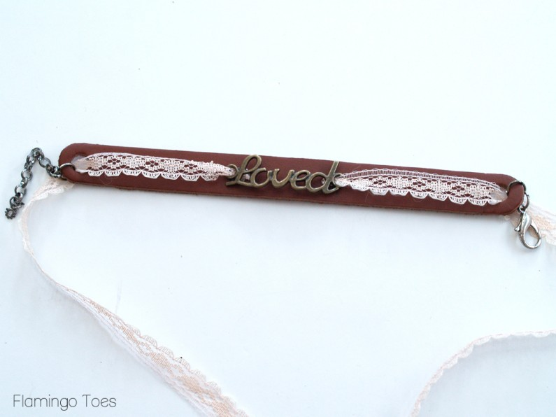 Assembling Lace and Leather Bracelet