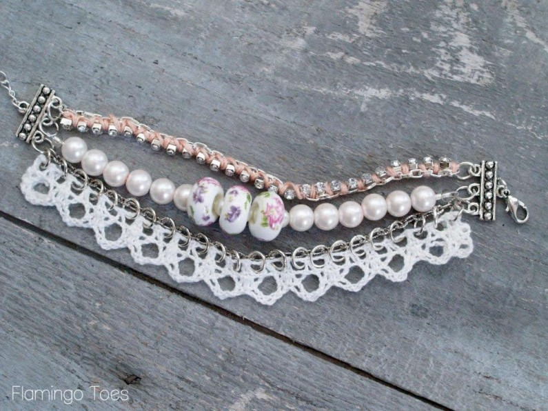 Beads, Lace and Chain Bracelet