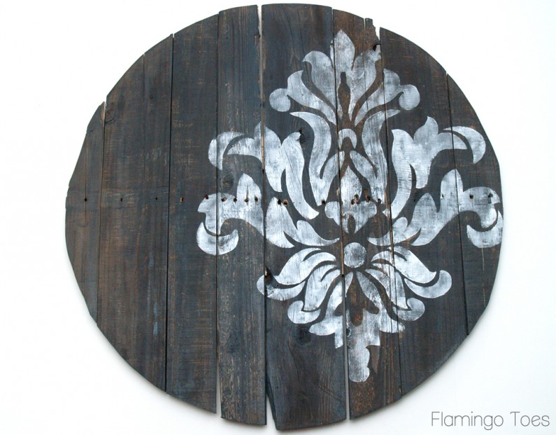 Damask Stencil on Clock