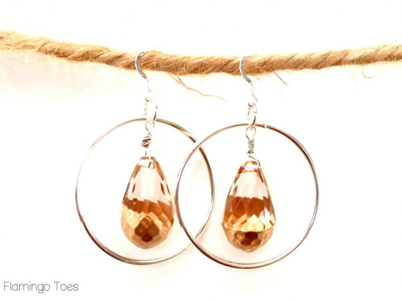 Hoop Earrings with Gold Beads