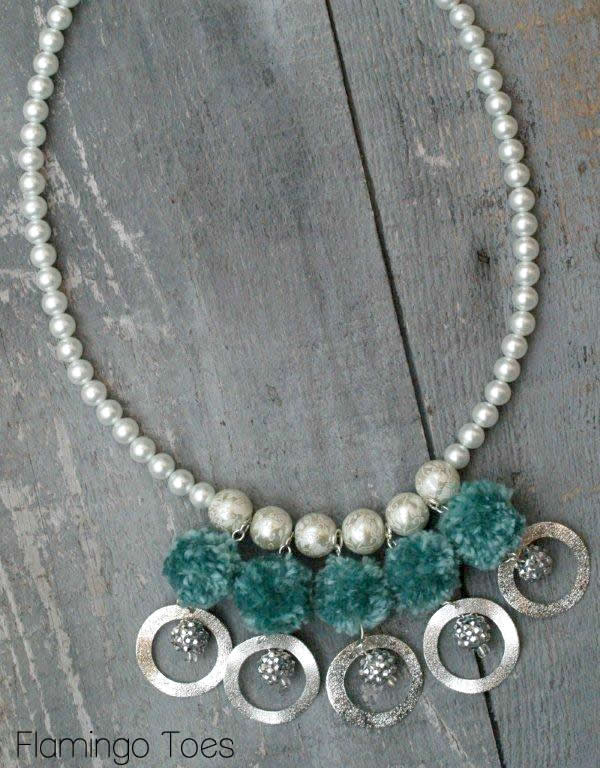 Pom poms and Pearls Necklace
