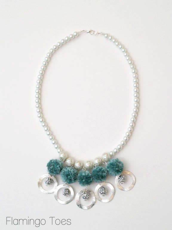 Pompom and Pearl Necklace