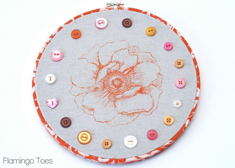 Buttons and Flowers Hoop Art
