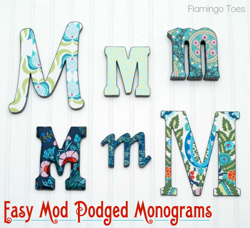 Mod Podging Many Marvelous Monograms