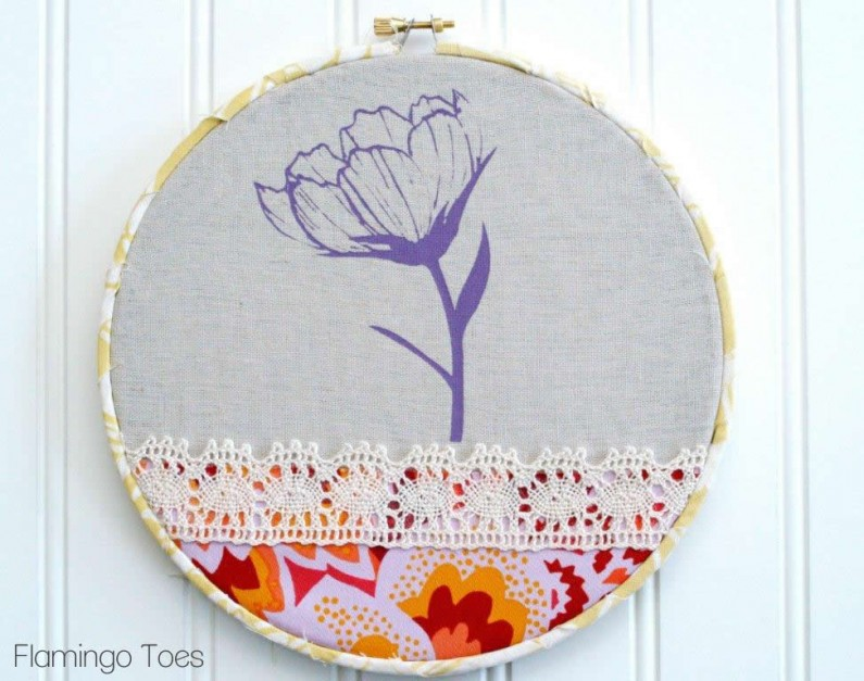 Flower and Lace Hoop Art