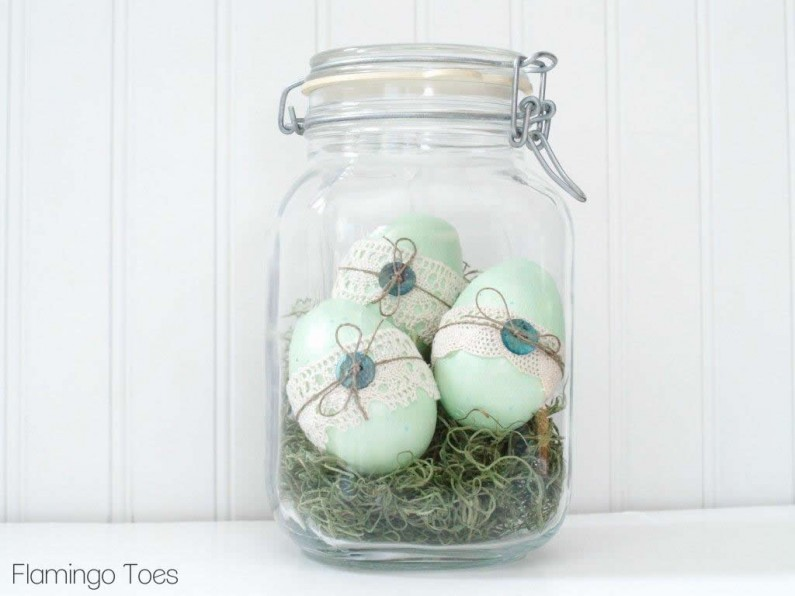 Lace and Twine Easter Eggs