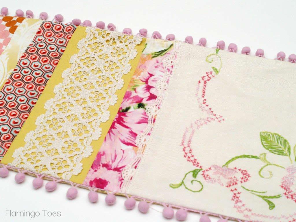 Spring Vintage Linen Table Runner