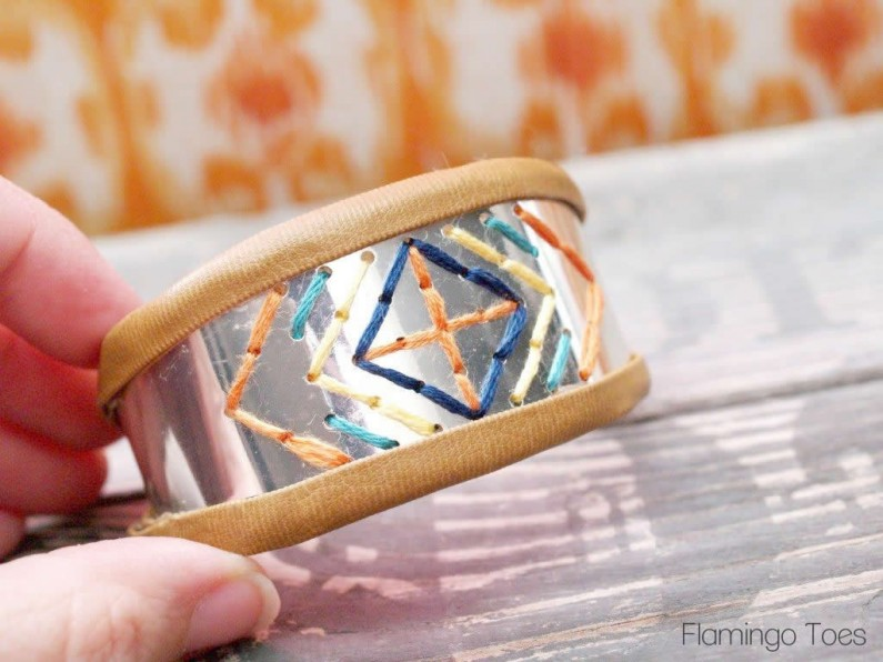 Metal Bracelet with Stitching