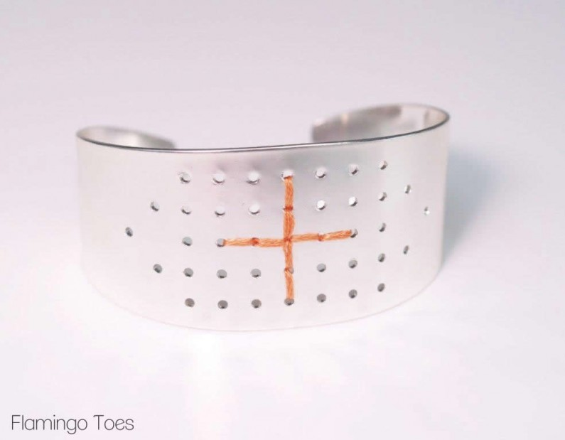 Southwest Stitched Metal Bracelet -