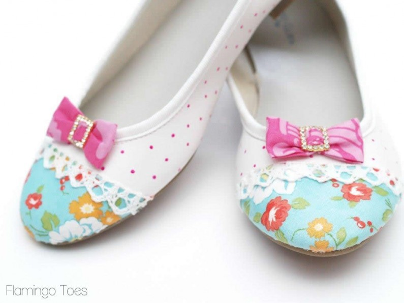 Fabric Lace and Bow shoes