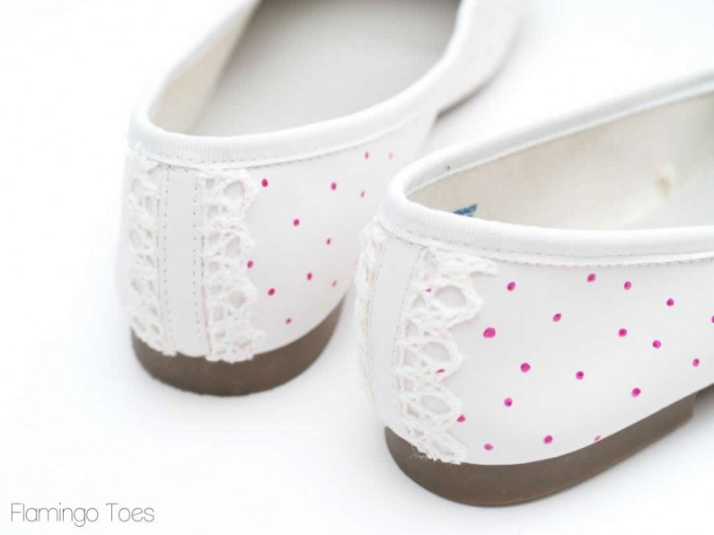 Lace and polkadot flats
