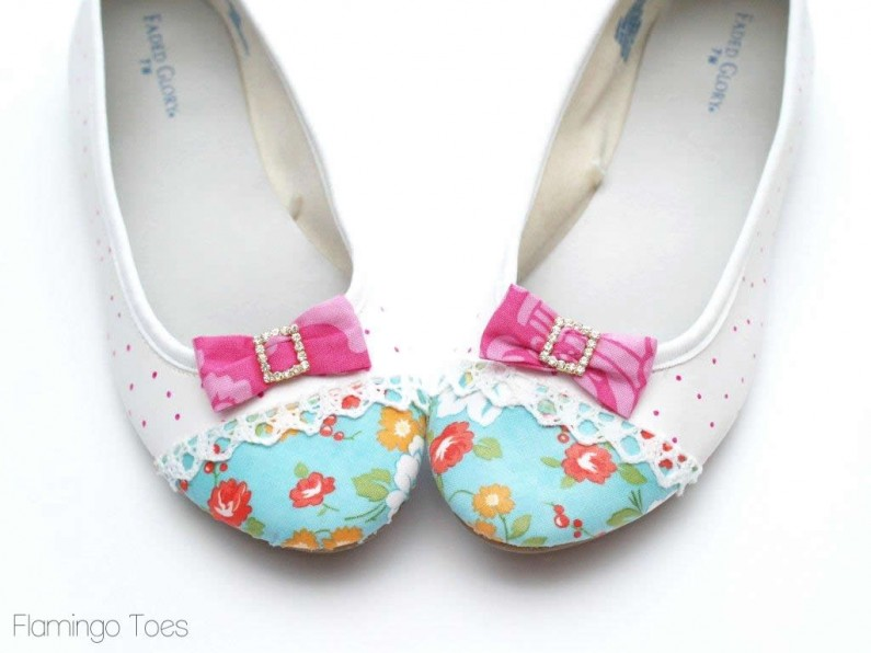 Mod Podge fabric onto shoes