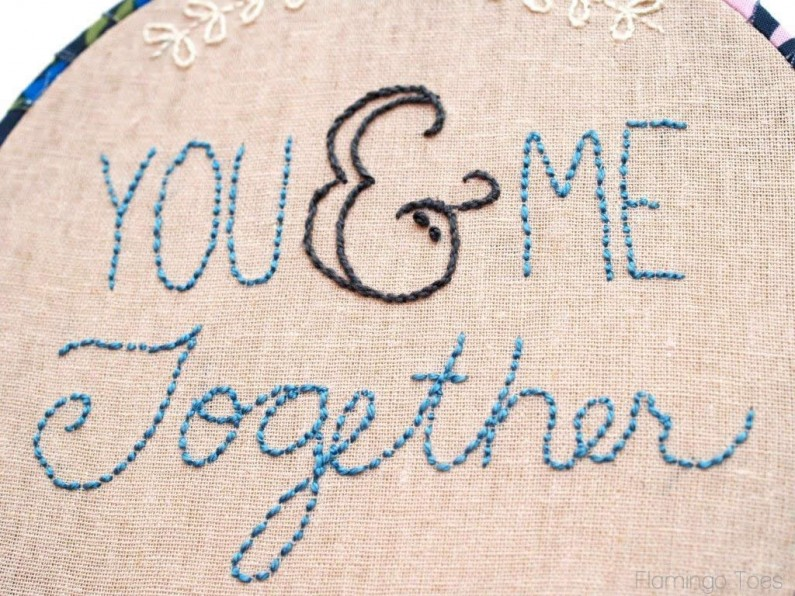 You & Me Together - Embroidery Hoop Art and Pattern