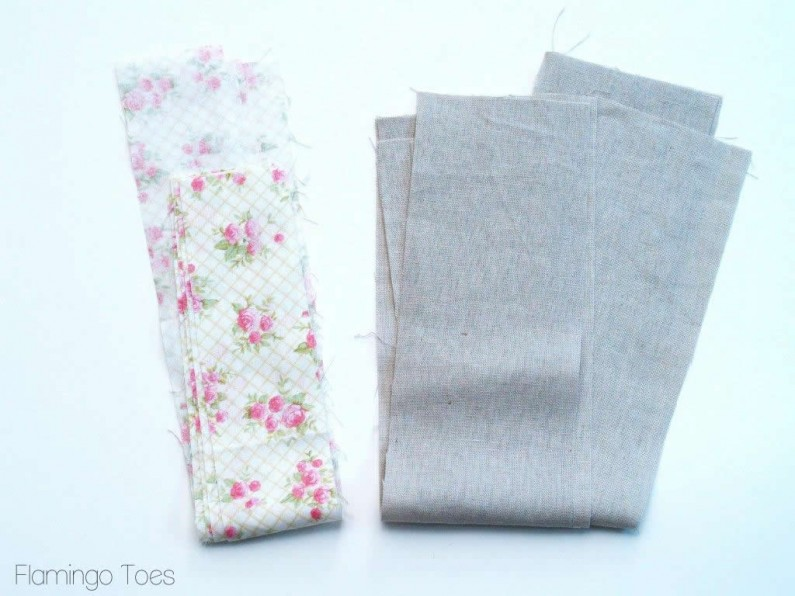 linen and fabric strips