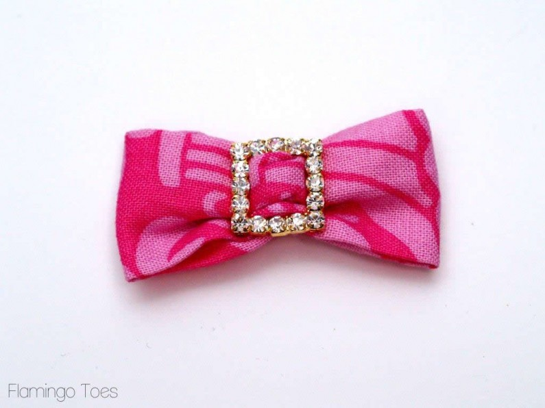 rhinestone and fabric bows