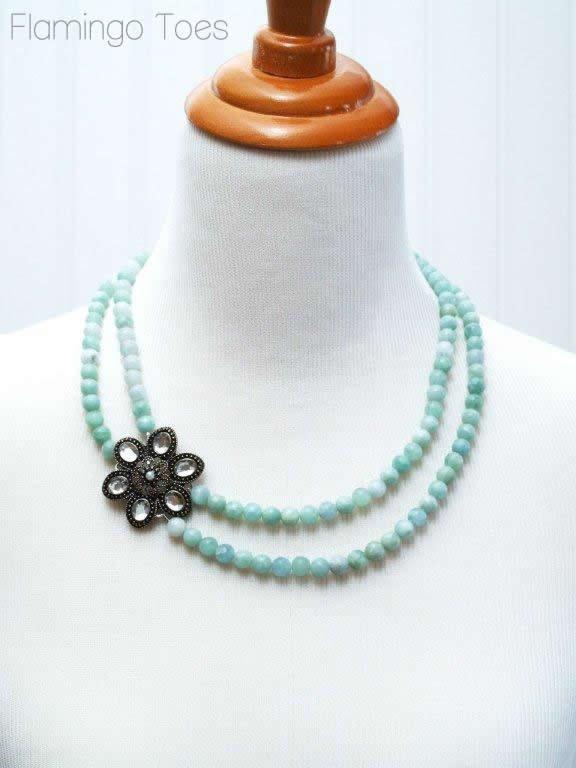 Rhinestone Brooch and Bead Necklace Tutorial