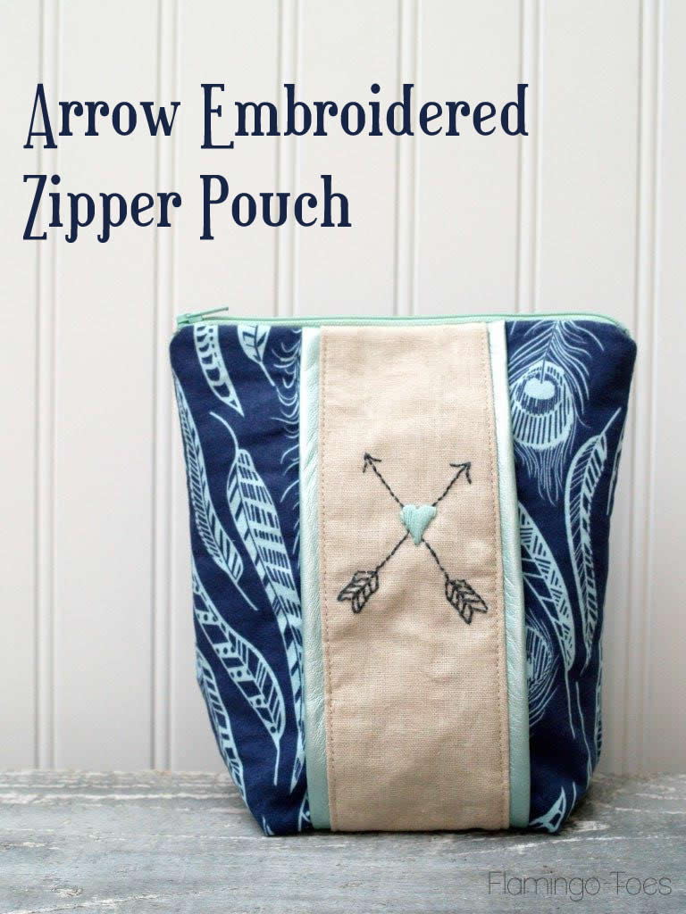 Arrow & Heart Embroidery Zipper Pouch