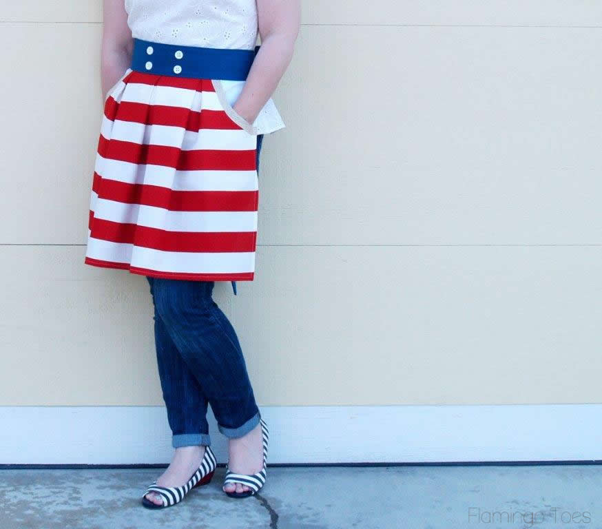 Patriotic Pleated Apron