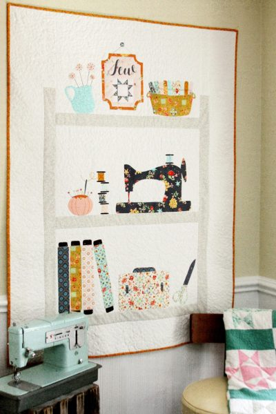 Sweet Sewing Shelves Applique Quilt with Free Pattern