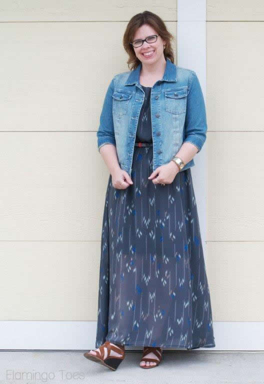 jean jacket and maxi dress