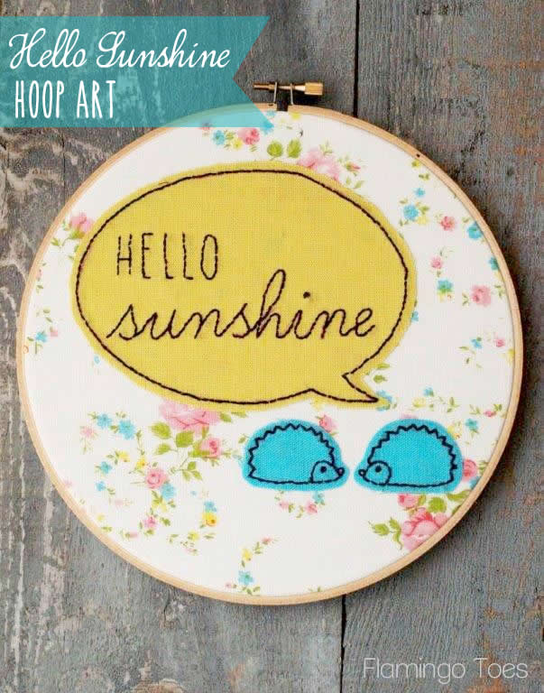 Hello Sunshine Embroidery Hoop Art
