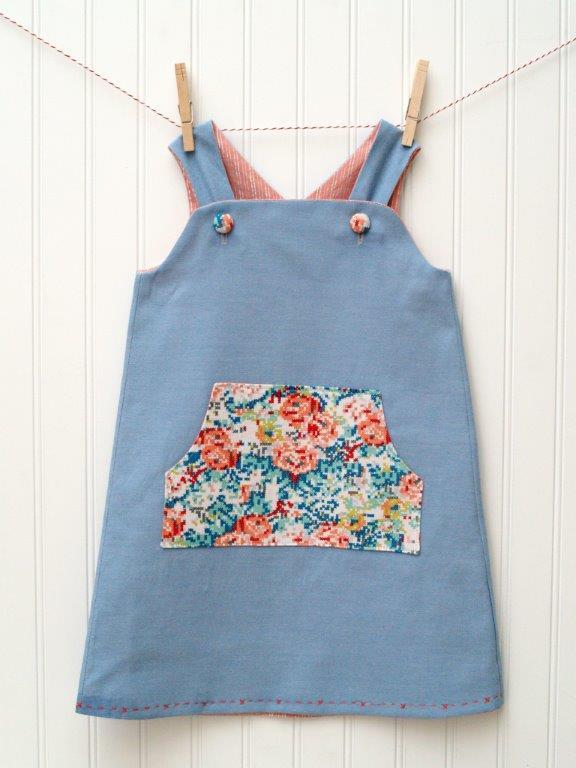Chambray & Cross Stitch Daphne Wrap Dress