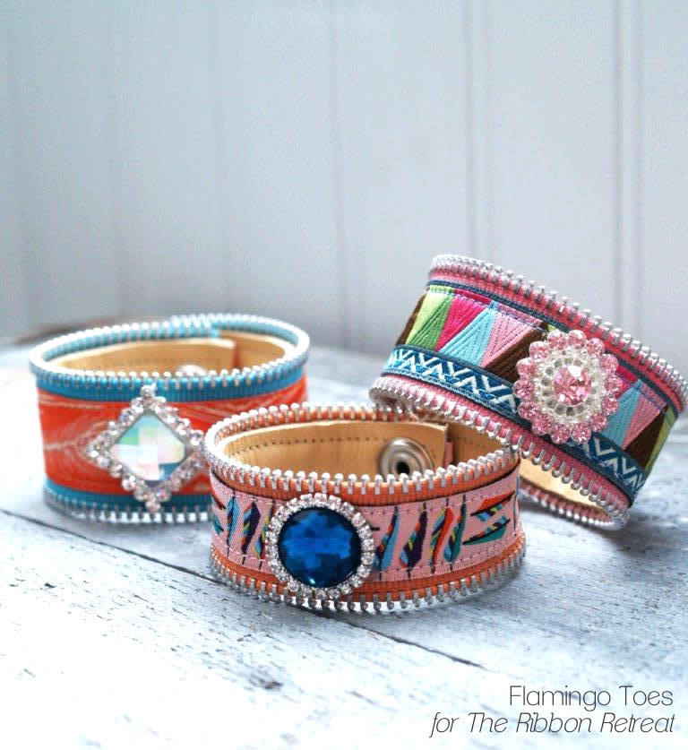 Ribbon and Leather Cuffs
