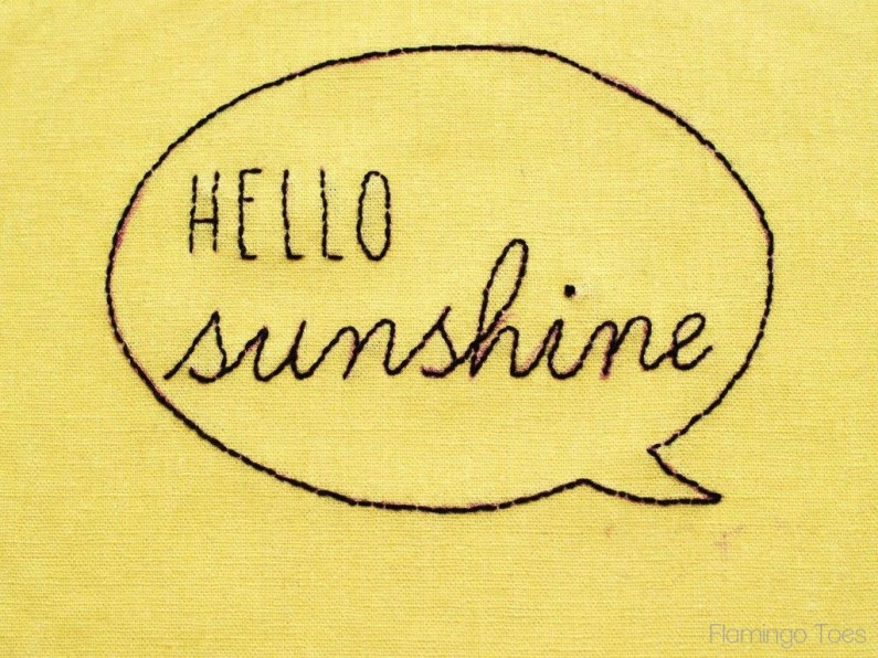 embroidery hello sunshine
